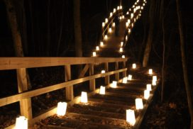 Make plans to join Knox County Park District for this spectacular, magical event on December 9, 5:30 p.m. -7:30 p.m. Over 600 luminaries will light your paths to Honey Run Waterfall and the Kokosing State Scenic River. Honey Run Waterfall is one of Knox County's most spectacular natural gems and is absolutely mesmerizing with the hundreds of candle-lit snowflake-punched bags. Please stay for holiday treats and enjoy a roaring bonfire! Be sure to bring a canned food item(s) for the Food For The Hungry drive. Deposit your food gift in the bin provided. The Knox County Park District thanks you for your generosity to our neighbors and friends!